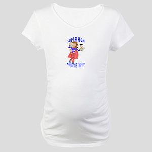 "Supermom_Triplet Tee"" Maternity T-Shirt"