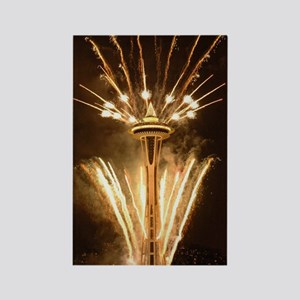 Space Needle Seattle Fireworks Rectangle Magnet