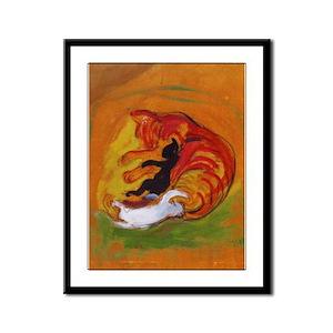 Cat with Kittens Framed Panel Print