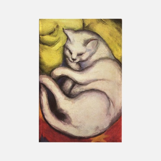 Cat on a Cushion by Franz Marc Rectangle Magnet
