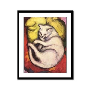 Cat on a Cushion by Franz Marc Framed Panel Print
