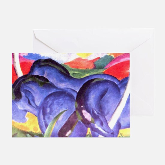 Blue Horses Greeting Card