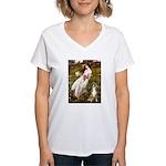 Windflowers & Boxer Women's V-Neck T-Shirt
