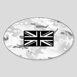British Flag: Arctic Camouflage Sticker (Oval)