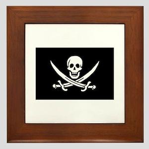 Framed Pirate Tile - Calico Jack Rackham Flag