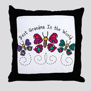 Butterfly Best Grandma Throw Pillow