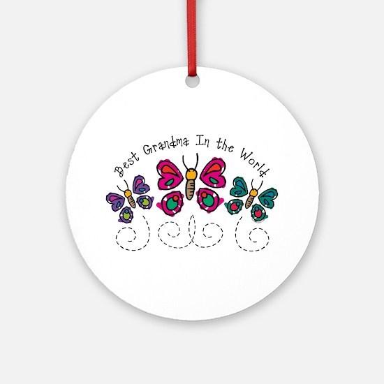 Butterfly Best Grandma Ornament (Round)