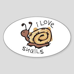 I Love Snails Oval Sticker
