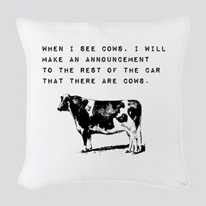Cow Sighting Woven Throw Pillow