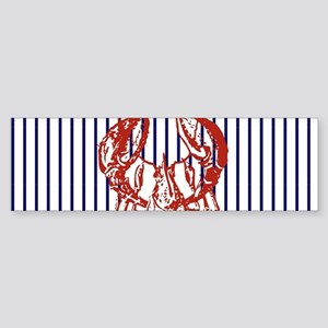 nautical stripes vintage lobster Bumper Sticker