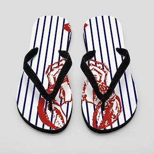 nautical stripes vintage lobster Flip Flops