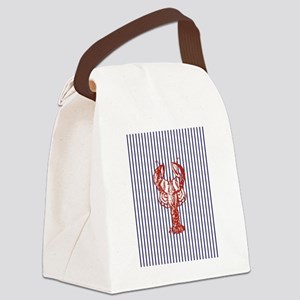 nautical stripes vintage lobster Canvas Lunch Bag