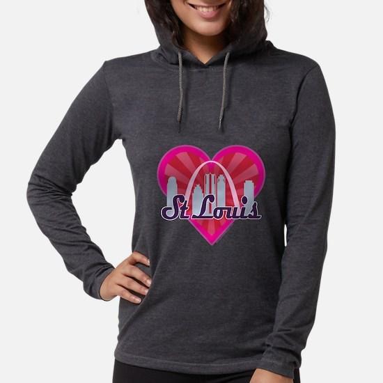 St Louis Skyline Sunburst Heart Long Sleeve T-Shir