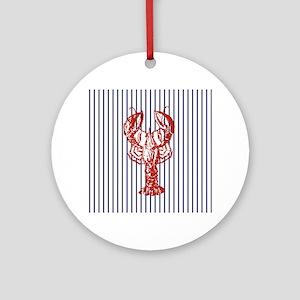 nautical stripes vintage lobster Round Ornament