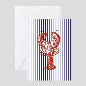 nautical stripes vintage lobster Greeting Cards