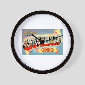 Cleveland Ohio Greetings Wall Clock