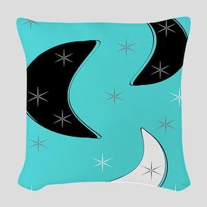 Boomerangs on Blue Woven Throw Pillow