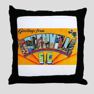 Greenville South Carolina Greetings Throw Pillow