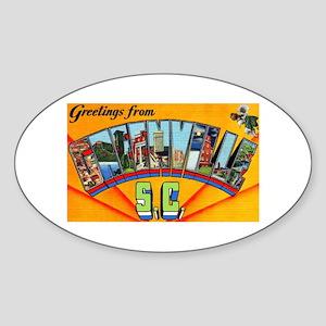 Greenville South Carolina Greetings Oval Sticker