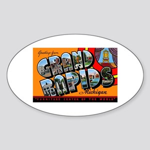 Grand Rapids Michigan Greetings Oval Sticker