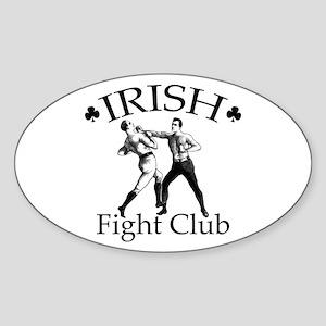 Irish Fight Club BW Oval Sticker