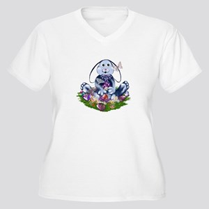 Blue Easter Bunny Women's Plus Size V-Neck T-Shirt