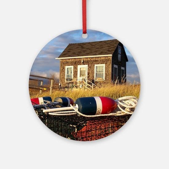 Maine Lobsterman's Shack Ornament (Round)
