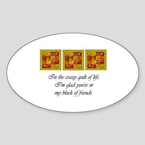 Friends - Crazy Quilt Oval Sticker