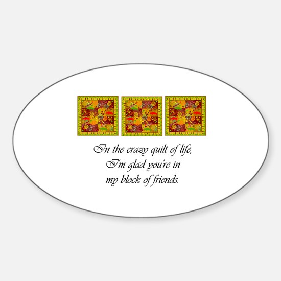 Friends - Crazy Quilt Oval Stickers