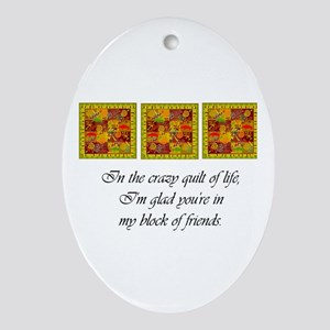 Friends - Crazy Quilt Oval Ornament