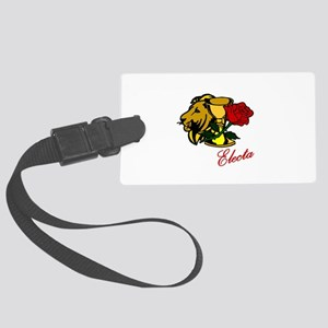 Electa Lion Cup Rose Design Large Luggage Tag