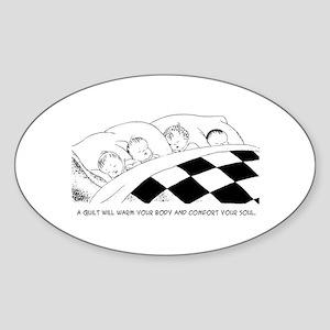 A Warm Quilt Oval Sticker