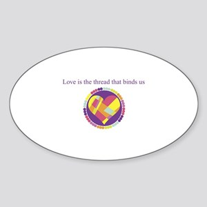 Love - Sew Quilt Heart Oval Sticker