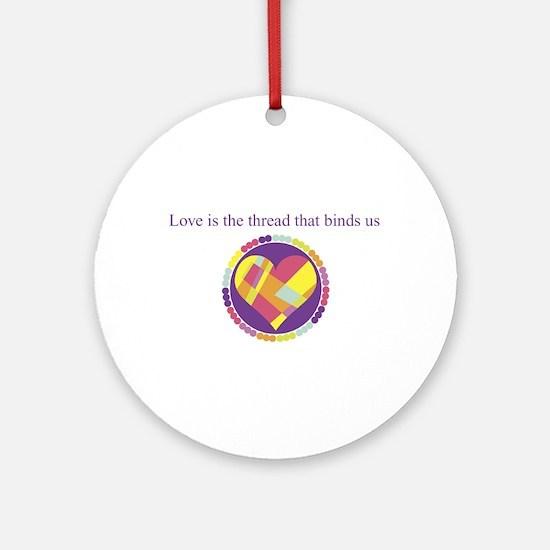 Love - Sew Quilt Heart Ornament (Round)