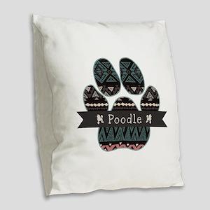 Poodle Burlap Throw Pillow
