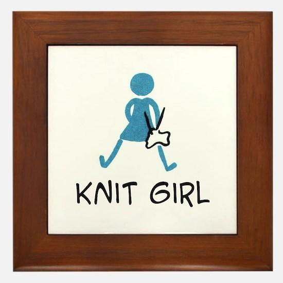 Retro Knit Girl Framed Tile
