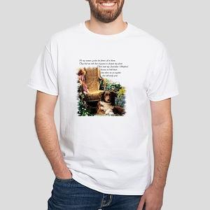 Australian Shepherd Art White T-Shirt