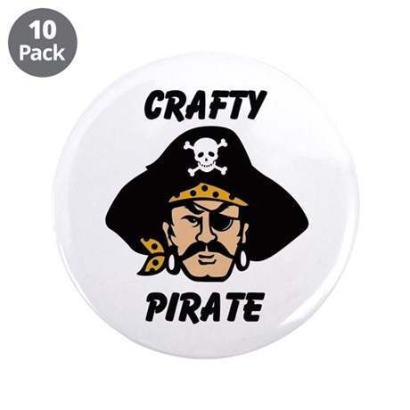 """Crafty Pirate - Arts and Craf 3.5"""" Button (10 pack"""