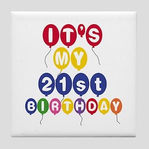 Balloons 21st Birthday Tile Coaster