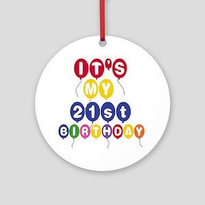 Balloons 21st Birthday Ornament (Round)