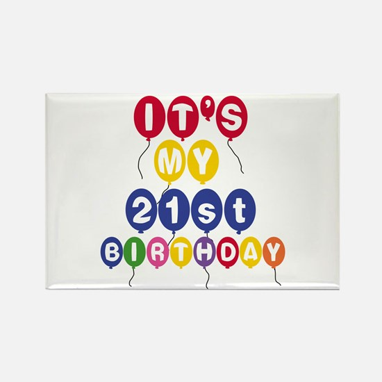 Balloons 21st Birthday Rectangle Magnet