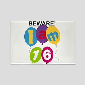 Beware 16th Birthday Rectangle Magnet