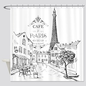 Cafe Paris Shower Curtain