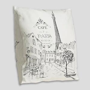 Cafe Paris Burlap Throw Pillow