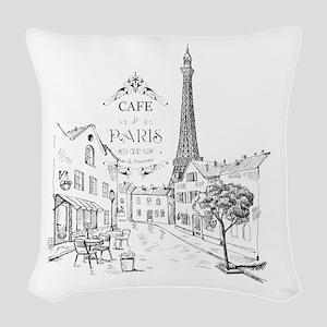 Cafe Paris Woven Throw Pillow