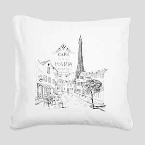 Cafe Paris Square Canvas Pillow
