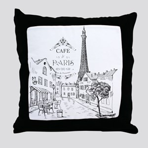 Cafe Paris Throw Pillow