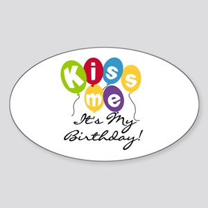 Kiss Me Birthday Oval Sticker