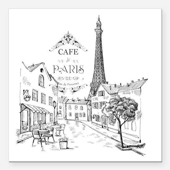 "Cafe Paris Square Car Magnet 3"" x 3"""