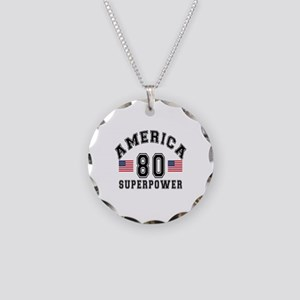 America 80 Super Power Birth Necklace Circle Charm